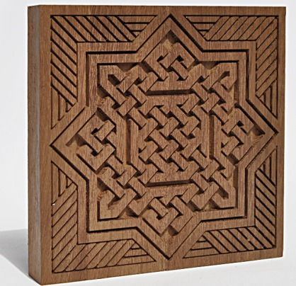 Talla en madera de Iroco -Modelo andalusí